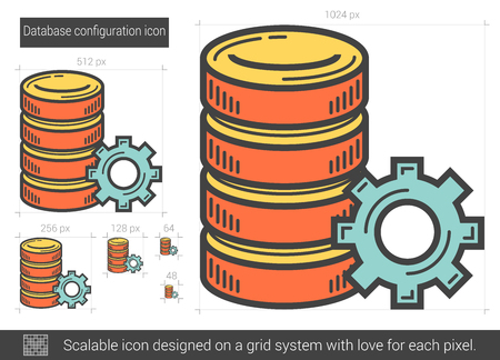 scalable: Database configuration vector line icon isolated on white background. Database configuration line icon for infographic, website or app. Scalable icon designed on a grid system. Illustration