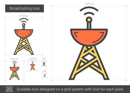receiver: Broadcasting vector line icon isolated on white background. Broadcasting line icon for infographic, website or app. Scalable icon designed on a grid system.