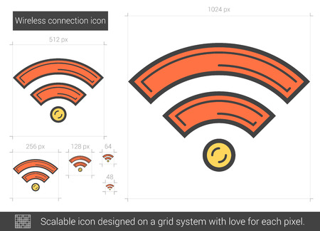 Wireless connection vector line icon isolated on white background. Wireless connection line icon for infographic, website or app. Scalable icon designed on a grid system.