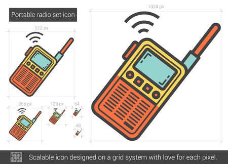 communications tools: Portable radio set vector line icon isolated on white background. Portable radio set line icon for infographic, website or app. Scalable icon designed on a grid system.