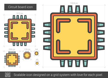 fragments: Circuit board vector line icon isolated on white background. Circuit board line icon for infographic, website or app. Scalable icon designed on a grid system.