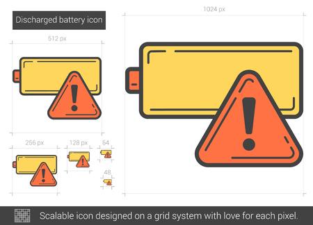 Icône de ligne vecteur batterie déchargée isolé sur fond blanc. Icône de ligne de batterie déchargée pour infographie, site Web ou application. Icône évolutive conçue sur un système de grille. Illustration