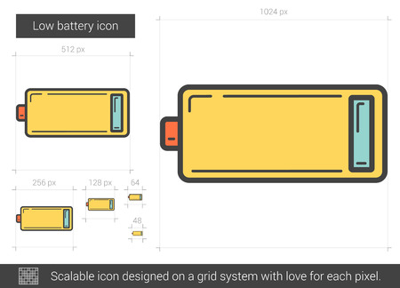 electric grid: Low battery vector line icon isolated on white background. Low battery line icon for infographic, website or app. Scalable icon designed on a grid system. Illustration