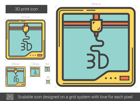 scalable: Three D print vector line icon isolated on white background. Three D print line icon for infographic, website or app. Scalable icon designed on a grid system. Illustration