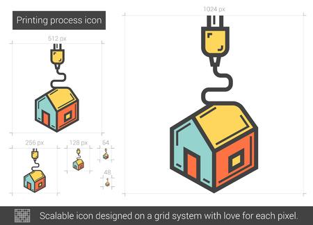 Procédé d'impression icône de la ligne de vecteur isolé sur fond blanc. Procédé d'impression icône de la ligne pour infographie, site Web ou application. icon Scalable conçu sur un système de grille. Banque d'images - 62246330