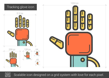 Tracking glove vector line icon isolated on white background. Tracking glove line icon for infographic, website or app. Scalable icon designed on a grid system. Illustration
