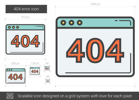 page not found: 404 error vector line icon isolated on white background. 404 error line icon for infographic, website or app. Scalable icon designed on a grid system.