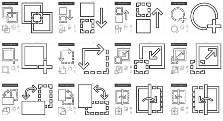 minimize: Content Edition vector line icon set isolated on white background. Content Edition line icon set for infographic, website or app. Scalable icon designed on a grid system.