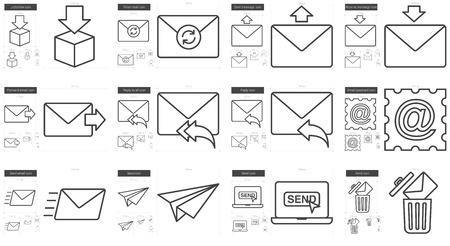 reply all: Email vector line icon set isolated on white background. Email line icon set for infographic, website or app. Scalable icon designed on a grid system.