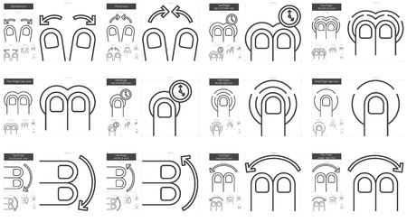 double tap: Touch gestures vector line icon set isolated on white background. Touch gestures line icon set for infographic, website or app. Scalable icon designed on a grid system. Illustration