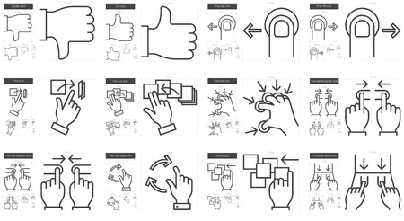 shove: Touch gestures vector line icon set isolated on white background. Touch gestures line icon set for infographic, website or app. Scalable icon designed on a grid system. Illustration
