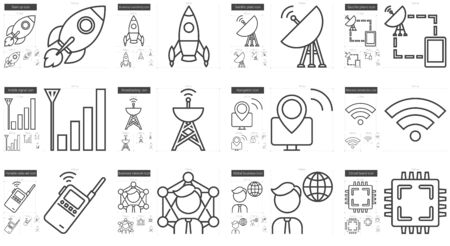 scalable set: Technology vector line icon set isolated on white background. Technology line icon set for infographic, website or app. Scalable icon designed on a grid system.