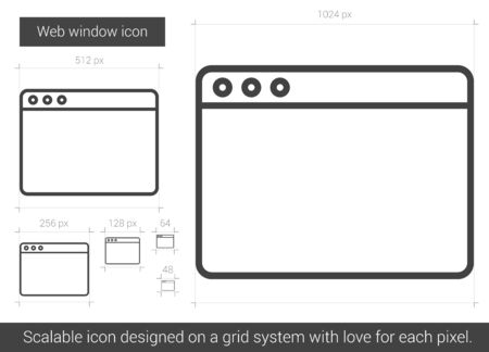 website window: Web window vector line icon isolated on white background. Web window line icon for infographic, website or app. Scalable icon designed on a grid system.