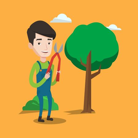 tree trimming: A gardener holding a pruner. A man is going to trim branches of a tree. Professional gardener pruning a tree. Gardener working in the yard with clipper. Vector flat design illustration. Square layout.