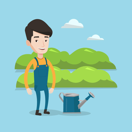 A happy farmer standing near a watering can on the background of agricultural field with green bushes. Man watering plants in garden. Vector flat design illustration. Square layout. Stock Illustratie