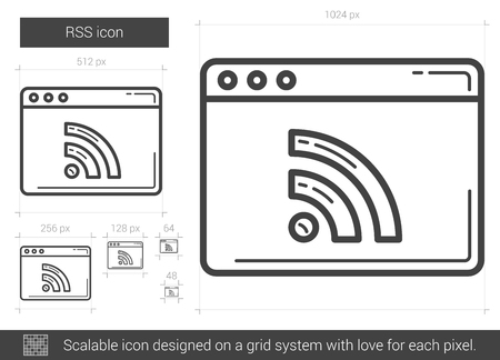 scalable: RSS vector line icon isolated on white background. RSS line icon for infographic, website or app. Scalable icon designed on a grid system.