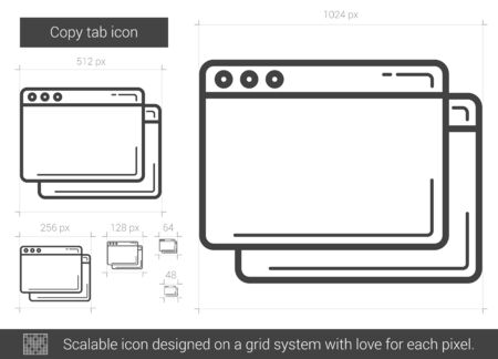 tab: Copy tab vector line icon isolated on white background. Copy tab line icon for infographic, website or app. Scalable icon designed on a grid system.