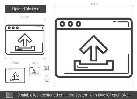 scalable: Upload file vector line icon isolated on white background. Upload file line icon for infographic, website or app. Scalable icon designed on a grid system.
