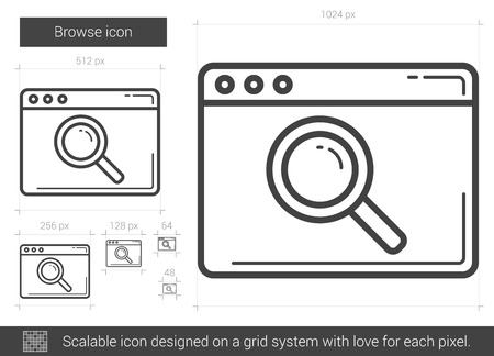 browse: Browse vector line icon isolated on white background. Browse line icon for infographic, website or app. Scalable icon designed on a grid system.