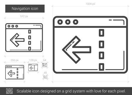 scalable: Navigation vector line icon isolated on white background. Navigation line icon for infographic, website or app. Scalable icon designed on a grid system.