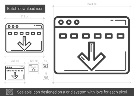scalable: Batch download vector line icon isolated on white background. Batch download line icon for infographic, website or app. Scalable icon designed on a grid system. Illustration