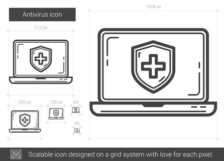 scalable: Antivirus vector line icon isolated on white background. Antivirus line icon for infographic, website or app. Scalable icon designed on a grid system.