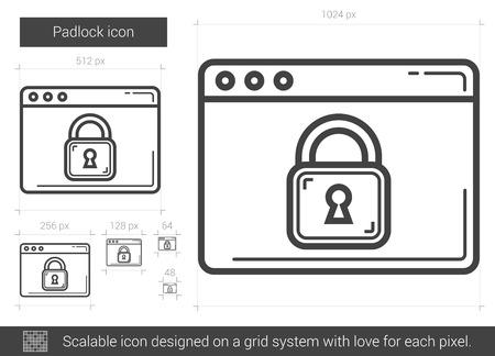 Padlock Vector Line Icon Isolated On White Background Padlock