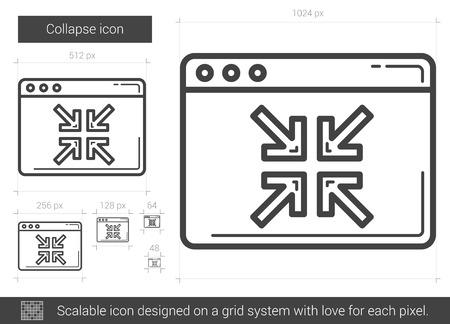 derrumbe: Reducir icono de la l�nea vector aislado en el fondo blanco. icono de la l�nea colapso de infograf�a, sitio web o aplicaci�n. icono escalable dise�ada en un sistema de red.
