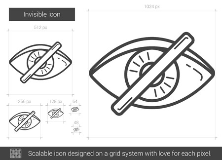 invisible: Invisible vector line icon isolated on white background. Invisible line icon for infographic, website or app. Scalable icon designed on a grid system.