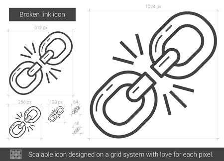 breakout: Broken link vector line icon isolated on white background. Broken link line icon for infographic, website or app. Scalable icon designed on a grid system. Illustration
