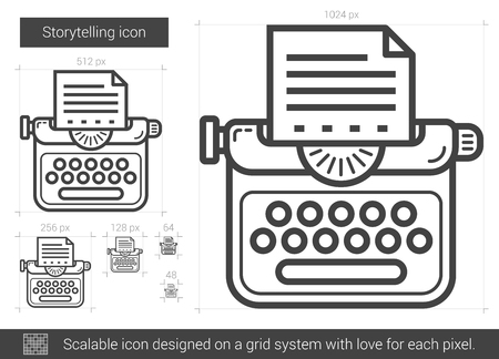 storytelling: Storytelling vector line icon isolated on white background. Storytelling line icon for infographic, website or app. Scalable icon designed on a grid system.