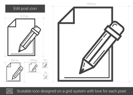 scalable: Edit post vector line icon isolated on white background. Edit post line icon for infographic, website or app. Scalable icon designed on a grid system. Illustration