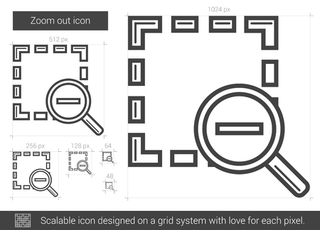 zoom out: Zoom out vector line icon isolated on white background. Zoom out line icon for infographic, website or app. Scalable icon designed on a grid system.