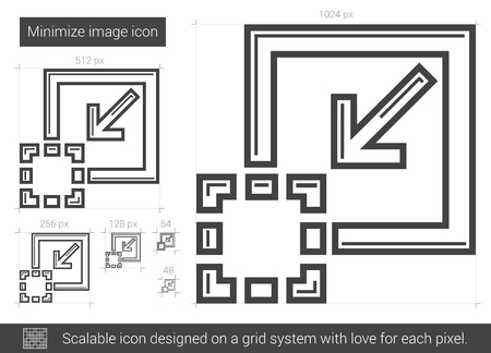 minimize: Minimize image vector line icon isolated on white background. Minimize image line icon for infographic, website or app. Scalable icon designed on a grid system. Illustration