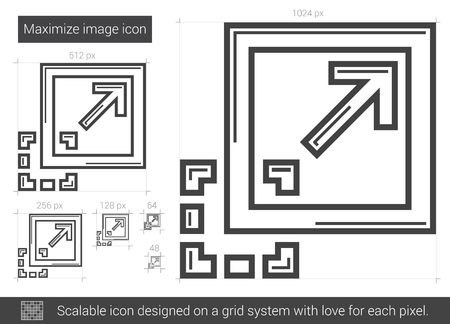maximize: Maximize image vector line icon isolated on white background. Maximize image line icon for infographic, website or app. Scalable icon designed on a grid system.