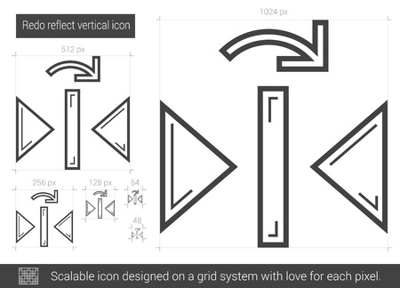 redo: Redo reflect vertical vector line icon isolated on white background. Redo reflect vertical line icon for infographic, website or app. Scalable icon designed on a grid system. Illustration