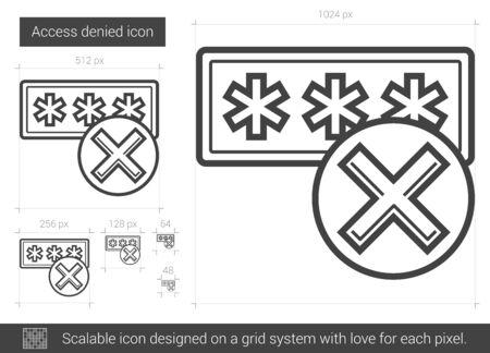 Acceso icono de la línea vector negado aislado sobre fondo blanco. Acceso denegado icono de la línea de infografía, sitio web o aplicación. icono escalable diseñada en un sistema de red. Foto de archivo - 62506305