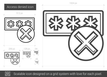access denied: Access denied vector line icon isolated on white background. Access denied line icon for infographic, website or app. Scalable icon designed on a grid system.