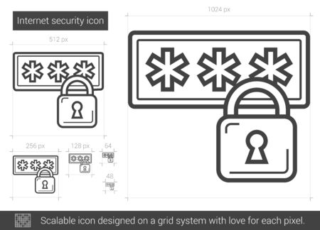 Internet security vector line icon isolated on white background. Internet security line icon for infographic, website or app. Scalable icon designed on a grid system. Illusztráció
