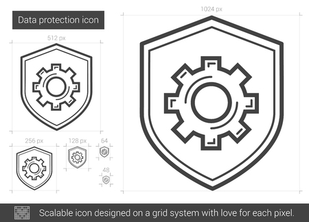 wheel guard: Data protection vector line icon isolated on white background. Data protection line icon for infographic, website or app. Scalable icon designed on a grid system. Illustration
