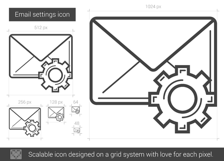 Email settings vector line icon isolated on white background. Email settings line icon for infographic, website or app. Scalable icon designed on a grid system.