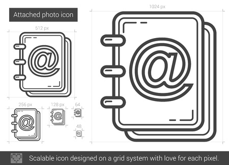 Attached photo vector line icon isolated on white background. Attached photo line icon for infographic, website or app. Scalable icon designed on a grid system. Reklamní fotografie - 62506329