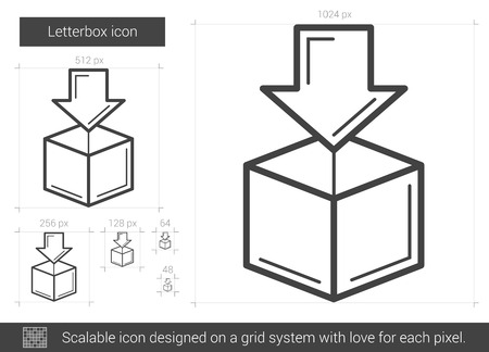 letterbox: Letterbox vector line icon isolated on white background. Letterbox line icon for infographic, website or app. Scalable icon designed on a grid system.