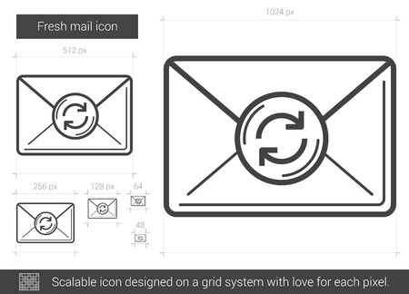 scalable: Fresh mail vector line icon isolated on white background. Fresh mail line icon for infographic, website or app. Scalable icon designed on a grid system.