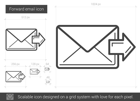 Forward email vector line icon isolated on white background. Forward email line icon for infographic, website or app. Scalable icon designed on a grid system. 向量圖像