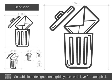 scalable: Email delete vector line icon isolated on white background. Email delete line icon for infographic, website or app. Scalable icon designed on a grid system.