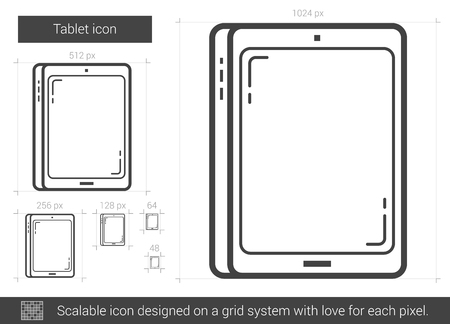 scalable: Tablet vector line icon isolated on white background. Tablet line icon for infographic, website or app. Scalable icon designed on a grid system.