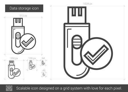storage device: Data storage vector line icon isolated on white background. Data storage line icon for infographic, website or app. Scalable icon designed on a grid system.