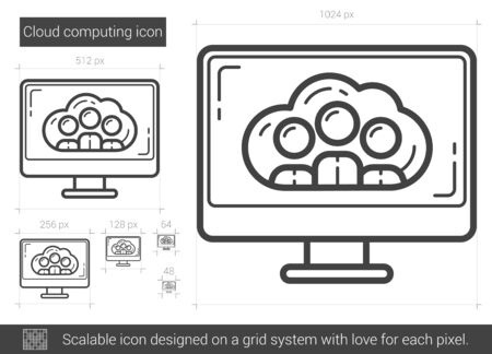 scalable: Cloud computing vector line icon isolated on white background. Cloud computing line icon for infographic, website or app. Scalable icon designed on a grid system.