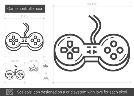 scalable: Game controller vector line icon isolated on white background. Game controller line icon for infographic, website or app. Scalable icon designed on a grid system.